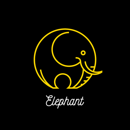 yellow line: Abstract yellow line elephant icon on black background. Vector illustration. Illustration