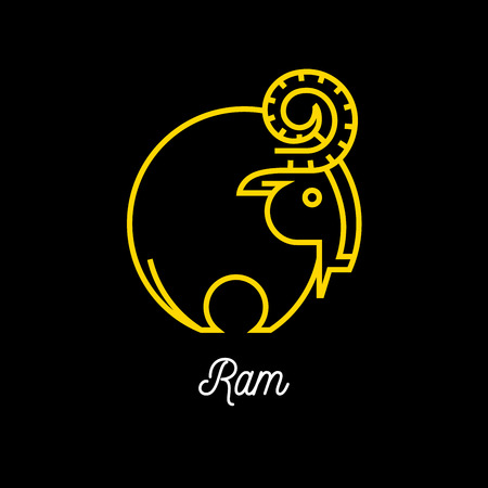 wild goat: Abstract yellow line wild goat ram icon on black background. Vector illustration.