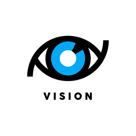 blue eye: Abstract vision icon with blue and black eye symbol concept isolated on white background. Vector illustration. Illustration