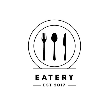 Eatery restaurant symbol with line style knife, fork, spoon and plate icon. Vector illustration.