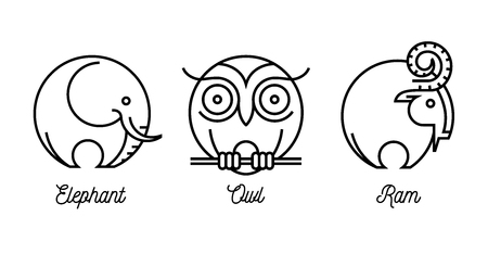 round shape: Abstract round line drawing of wild animal icons set with an elephant, ram and owl. Vector illustration. Illustration