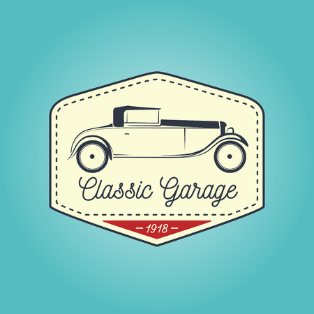 motor vehicle: Classic badge of vintage motor vehicle with retro garage icon design on blue background. Vector illustration.
