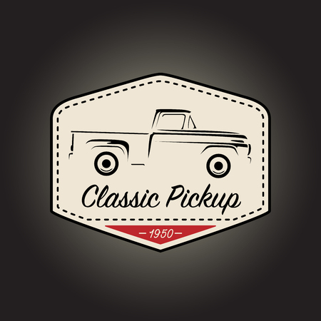 motor vehicle: Classic badge of vintage pickup motor vehicle with retro icon design on black background. Vector illustration.