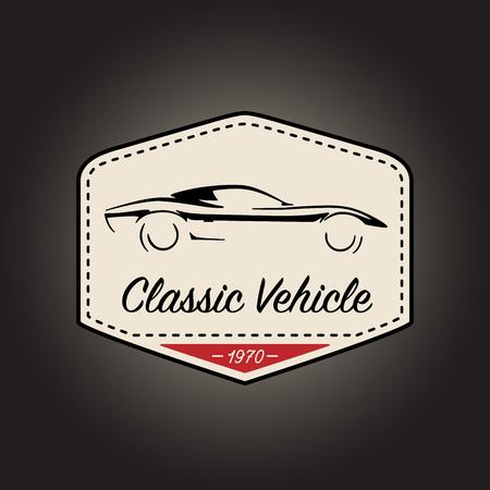 Klassiek kenteken van uitstekend motorsportvoertuig met retro ontwerp van het autopictogram op zwarte achtergrond. Vector illustratie.