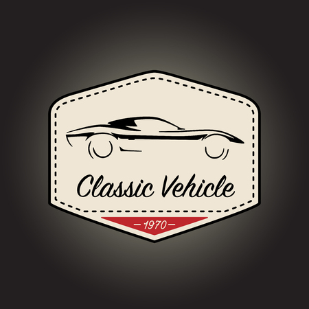 Classic badge of vintage motor sports vehicle with retro car icon design on black background. Vector illustration.