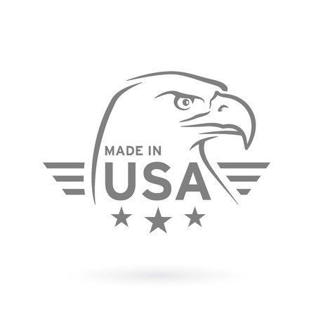 Made in USA icon concept badge design with grey American Bald Eagle emblem isolated on white background. Vector illustration.