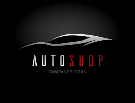 Auto car dealer icon design with concept sports vehicle symbol silhouette on black background. Vector illustration. Иллюстрация