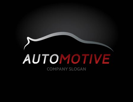 Automotive car icon design with concept sports vehicle symbol silhouette on black background. Vector illustration. Illustration