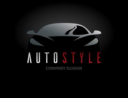 Auto style car icon design with concept sports vehicle symbol silhouette on black background. Vector illustration. Çizim