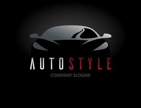Diseño del icono del estilo de coche automático con el símbolo de vehículo deportivo concepto silueta sobre fondo negro. Ilustración del vector.