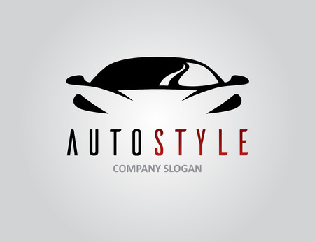 Auto style car icon design with concept sports vehicle symbol silhouette on light grey background. Vector illustration.