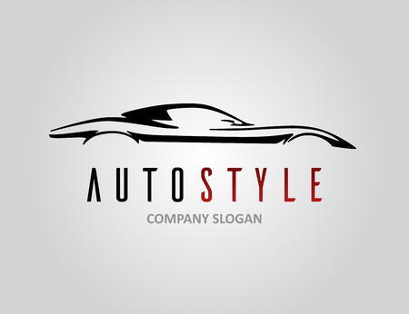 Auto style car icon design with concept retro sports vehicle silhouette on light grey background. Vector illustration. Illustration