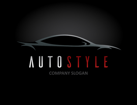 Auto style car icon design with concept sports vehicle silhouette on black background. Vector illustration. Vettoriali