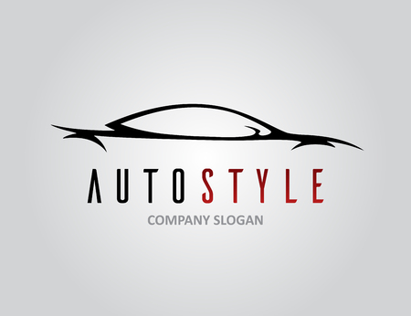 auto service: Auto style car icon design with concept sports vehicle silhouette on light grey background. Vector illustration. Illustration