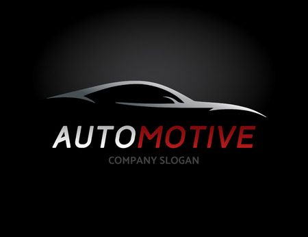 Automotive car icon design with concept sports vehicle silhouette on black . Vector illustration.
