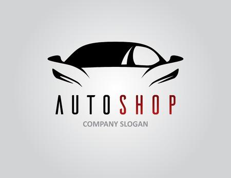 Auto tienda icono de diseño de coches con concepto de vehículos deportivos silueta sobre gris claro. Ilustración del vector. Ilustración de vector