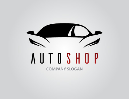 Auto winkel auto pictogram ontwerp met concept sportwagen silhouet op lichtgrijs. Vector illustratie. Stock Illustratie