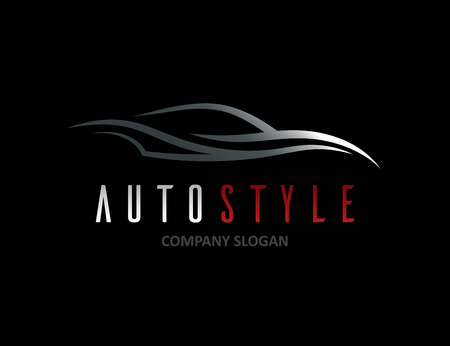 Automotive car icon design with abstract sports vehicle silhouette on black background. Vector illustration. Illustration