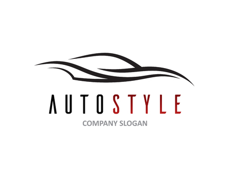 conceptual: Automotive car icon design with abstract sports vehicle silhouette isolated on white background. Vector illustration.