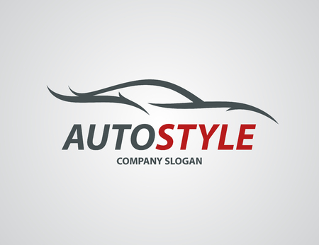 vehicle icon: Automotive car icon design with abstract sports vehicle silhouette isolated. Illustration