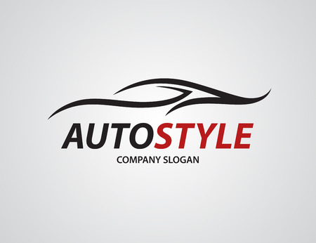 auto service: Automotive car icon design with abstract sports vehicle silhouette isolated on light grey background. Vector illustration. Illustration