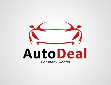 Auto car dealership icon design with front of original concept red sports vehicle silhouette. Vettoriali