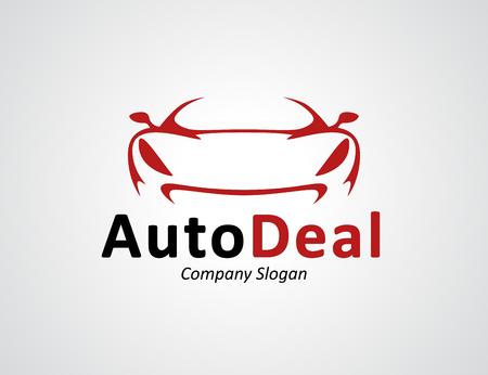 Auto auto dealer icon ontwerp met voorkant van origineel concept rood sport voertuig silhouet.