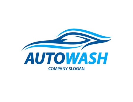Het automobielontwerp van het autowasserettepictogram met abstract blauw die sportenvoertuigsilhouet op witte achtergrond wordt geïsoleerd. Vector illustratie.