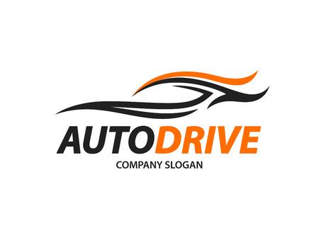 白い背景に分離された抽象的な黒とオレンジ色のスポーツ車シルエットの自動車アイコン デザイン。ベクトルの図。