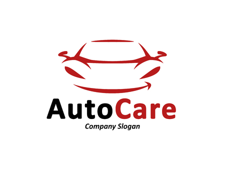 auto service: Automotive car care icon design with abstract black and red sports vehicle silhouette isolated on white background. Vector illustration. Illustration