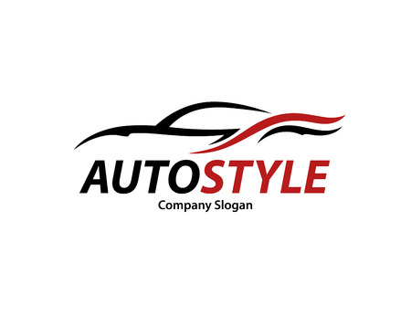Automotive car icon design with abstract style black and red sports vehicle silhouette isolated on white background. Ilustracja