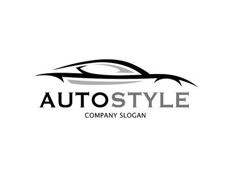 Automotive car icon design with abstract style black and grey sports vehicle. Vettoriali