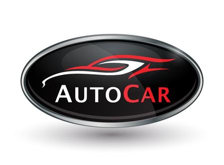 vehicle icon: Concept automotive vehicle dealership emblem design of black and silver chrome badge icon. Illustration