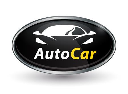 Concept auto vehicle dealership emblem design of black and silver chrome badge icon.