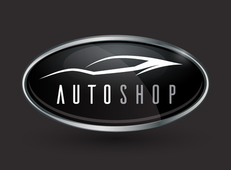auto service: Concept auto vehicle dealership emblem design of black and silver chrome badge icon on a dark grey background with a white sports car silhouette. Vector illustration.