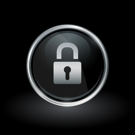 security symbol: Security symbol with padlock icon inside round chrome silver and black button emblem on black background. Vector illustration.