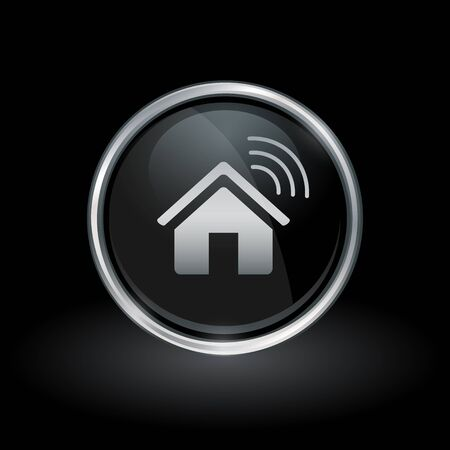 Wireless smart home symbol with house wifi icon inside round chrome silver and black button emblem on black background. Vector illustration.