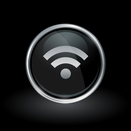 Wireless Connectivity Symbol With Wifi Icon Inside Round Chrome ...