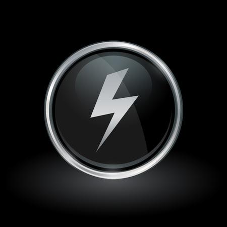 bolt: Electric strike symbol with bolt flash icon inside round chrome silver and black button emblem on black background. Vector illustration.