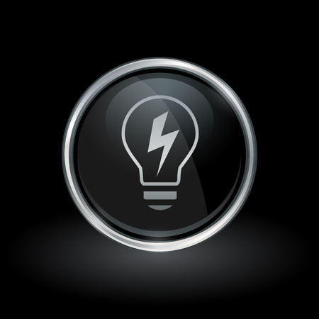 energy symbol: Light energy symbol with lightbulb electricity icon inside round chrome silver and black button emblem on black background. Vector illustration.