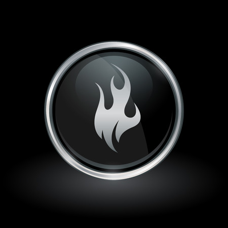 Fire symbol with flame icon inside round chrome silver and black button emblem on black background. Vector illustration.
