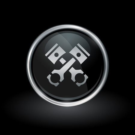 motor vehicle: Motor vehicle engine parts symbol with pistons and conrods icon inside round chrome silver and black button emblem on black background. Vector illustration.