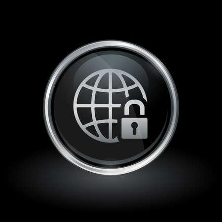 글로브와 자물쇠 아이콘 안에 검은 색 바탕에 라운드 크롬 실버 스프링과 검은 색 단추 로고가 안전 글로벌 네트워크 기호. 벡터 일러스트 레이 션. 일러스트