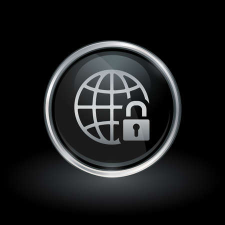 Secure global network symbol with globe and padlock icon inside round chrome silver and black button emblem on black background. Vector illustration. Stok Fotoğraf - 75539439