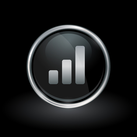 Chart symbol with bar graph progress icon inside round chrome silver and black button emblem on black background. Vector illustration.