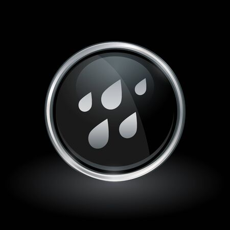 Water symbol with rain drops icon inside round chrome silver and black button emblem on black background. Vector illustration. Иллюстрация