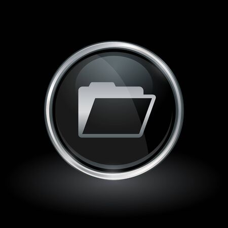 Document symbol with folder icon inside round chrome silver and black button emblem on black background. Vector illustration. Illustration