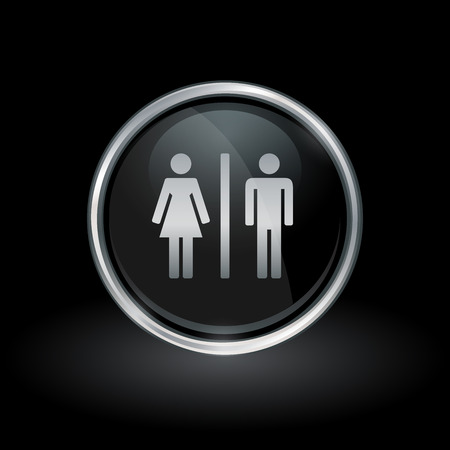 gender identity: Gender symbol with male and female silhouette icon inside round silver and black button emblem on black background. Vector illustration.