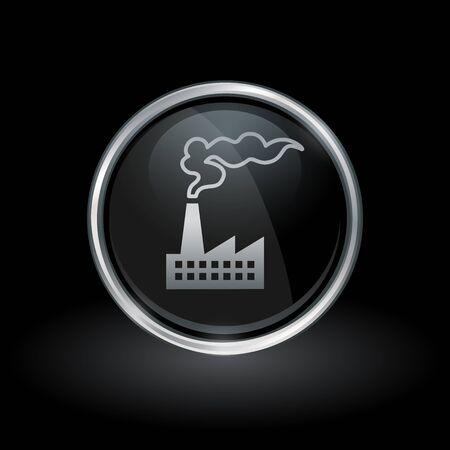 Industriegebäude-Produktionsanlagensymbol mit industrieller Fabrikikone innerhalb des runden silbernen und schwarzen Knopfemblems auf schwarzem Hintergrund. Vektor-Illustration. Standard-Bild - 74554590
