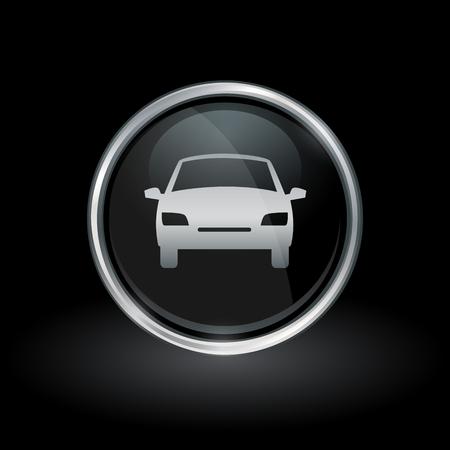 motor vehicle: Motor vehicle symbol with sedan car icon inside round chrome silver button emblem on black background. Vector illustration. Illustration